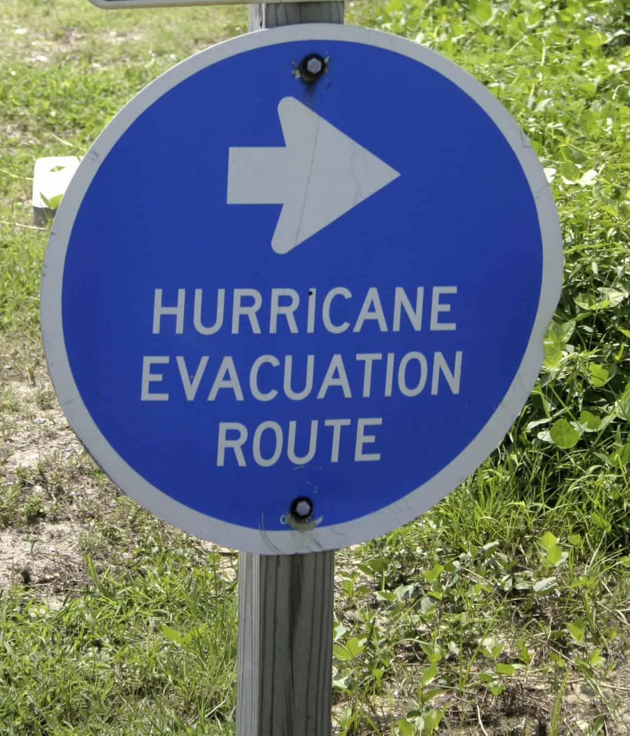 Sign indicating hurricane evacuation route