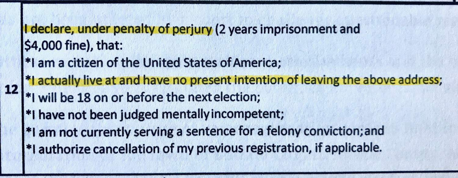 South Dakota voter registration from with sentences regarding perjury and residence highlighted
