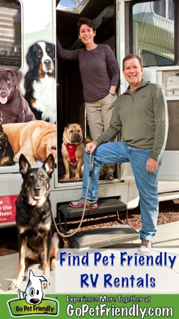 Woman, man, and two dogs in the doorway of an RV rental that's pet friendly