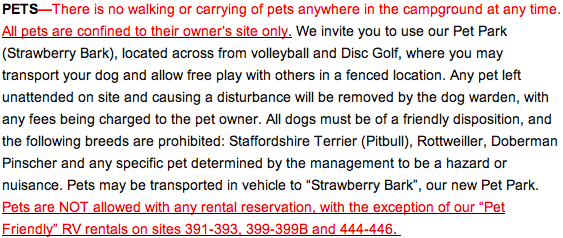 Campground Pet Policy