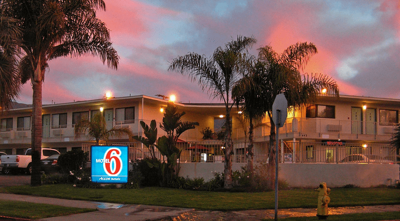 Motel 6 - one of the pet-friendly hotel chains where pets stay free!
