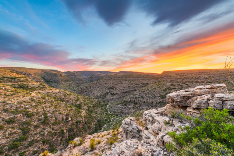 Carlsbad Cavern National Park, New Mexico, USA overlooking Rattlesnake Canyon just after sunset