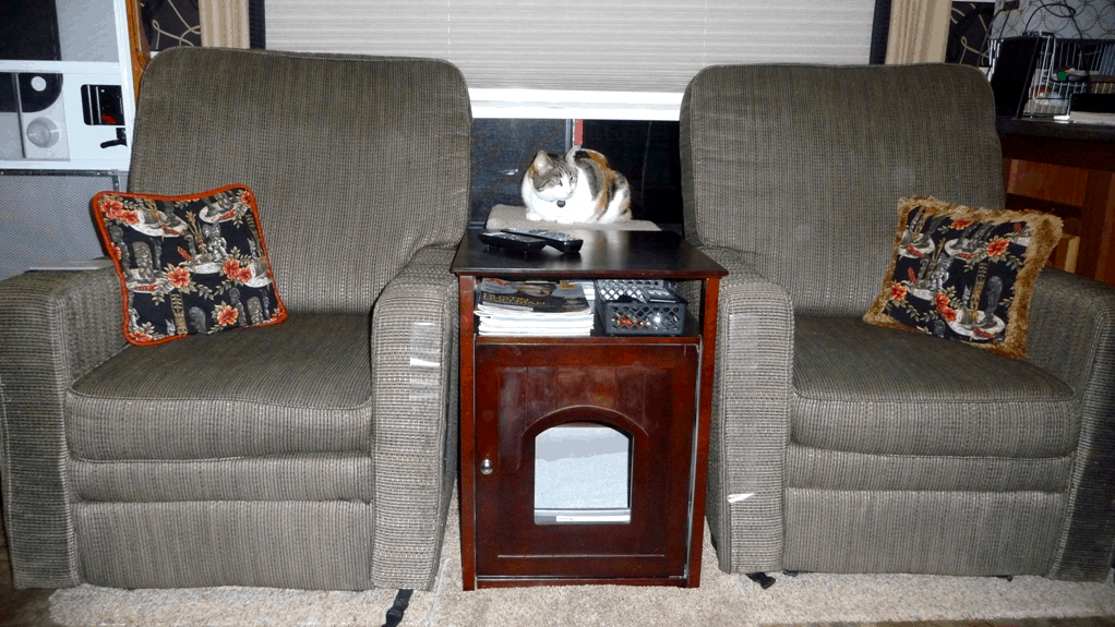 Rosie the cat with her litter box cabinet traveling in an RV