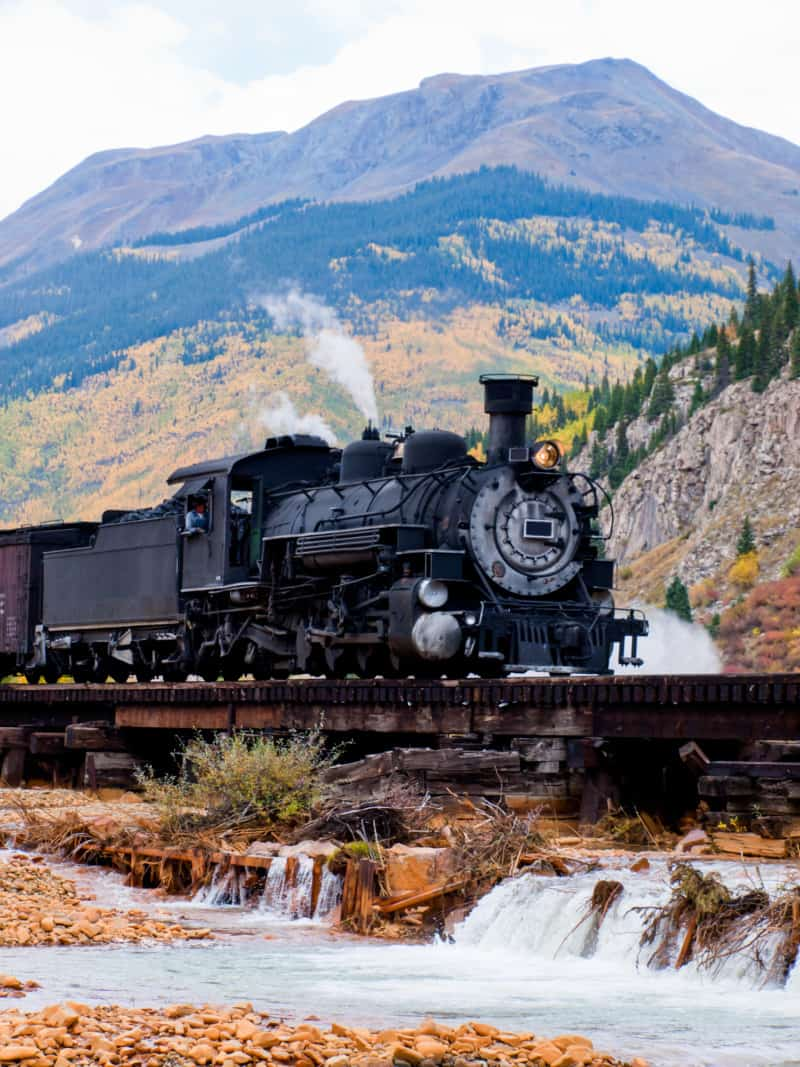 Steam locomotive engine. This train is in daily operation on the narrow gauge railroad between Durango and Silverton, CO
