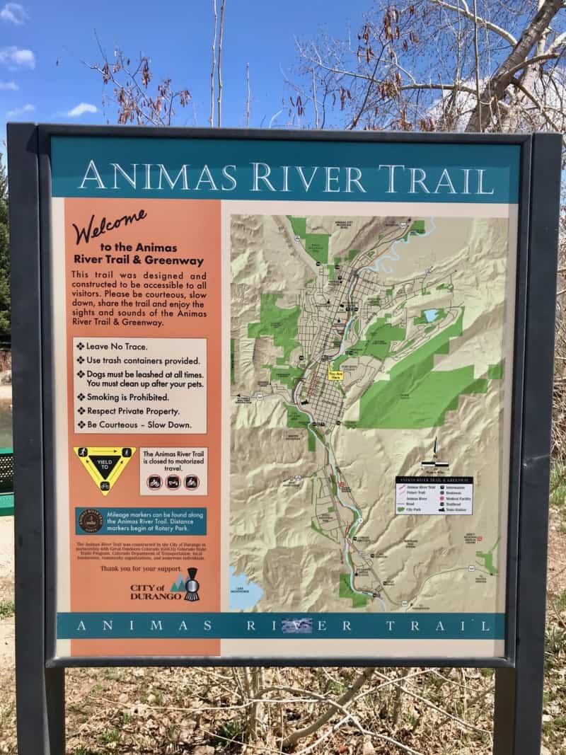 Sign for the dog friendly Animas River Trail in Durango, CO