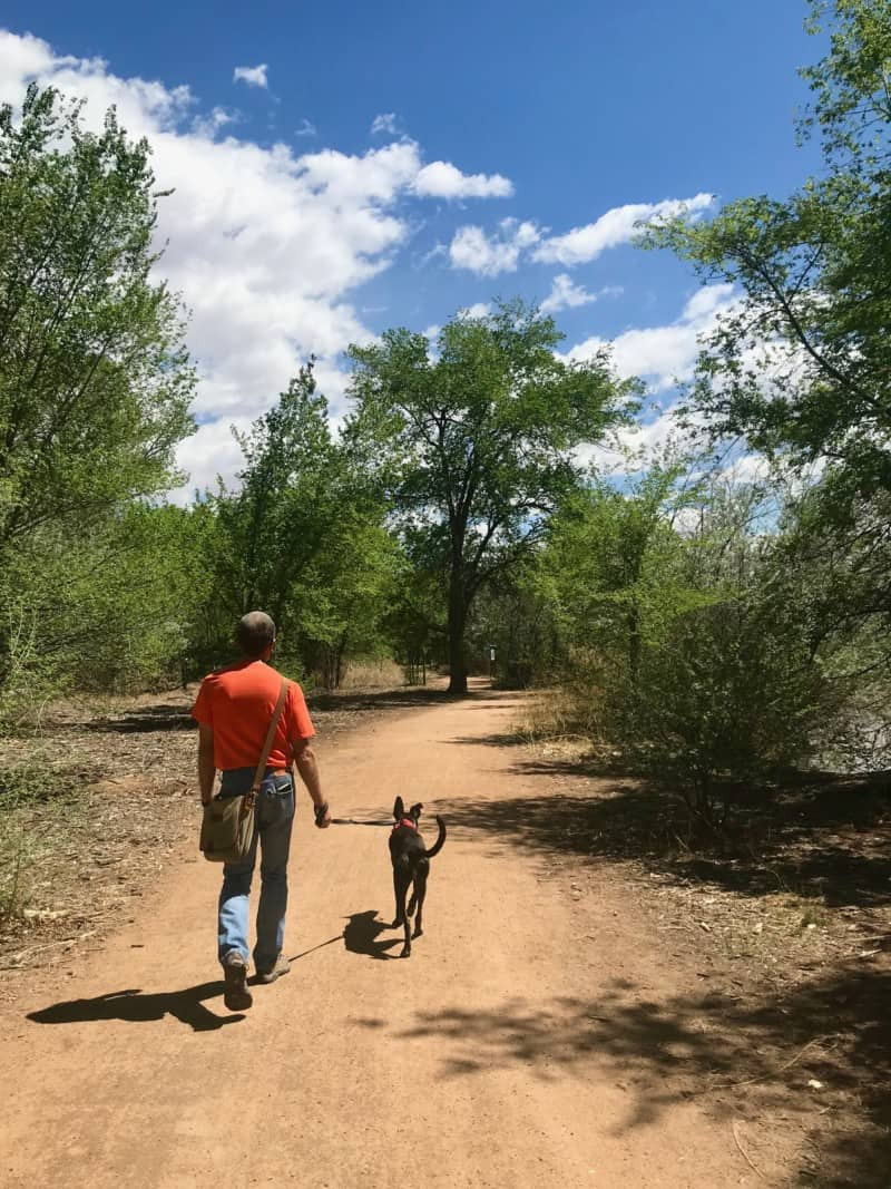 Man and dog walking on a pet friendly dirt trail in Albuquerque, NM