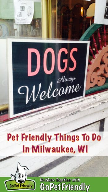 """A """"Dogs Always Welcome"""" sign in a store window in dog friendly Milwaukee, WI"""