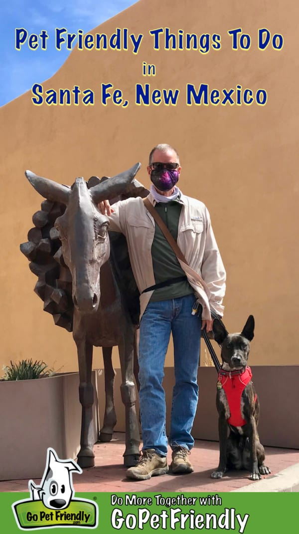 Man with brindle dog posing with the statue of a burro in Santa Fe, NM