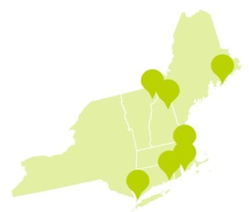 Map of New England in the United States with pins marking the top pet friendly attraction in each state