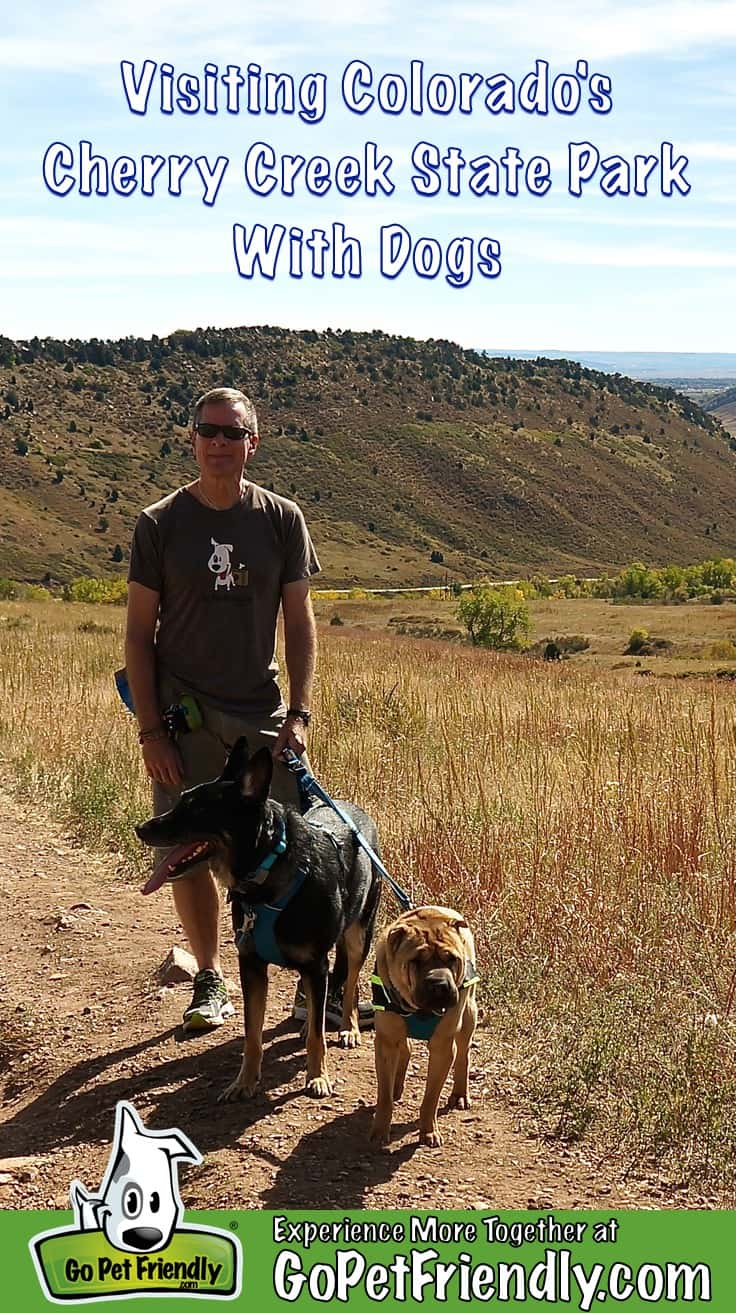 Man with two dogs on a pet friendly trail in Cherry Creek State Park in Colorado