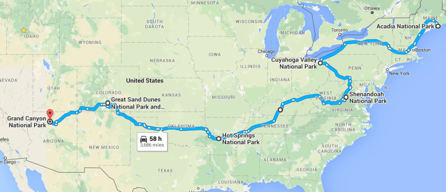 Road Trip to the Most Dog Friendly National Parks - Map