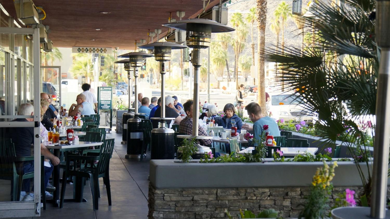 Pet-friendly patio at Sherman's Deli in Palm Springs, CA