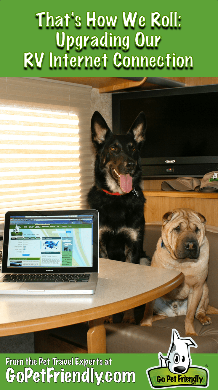 Buster and Ty from GoPetFriendly.com sitting at the RV dinette with the computer open
