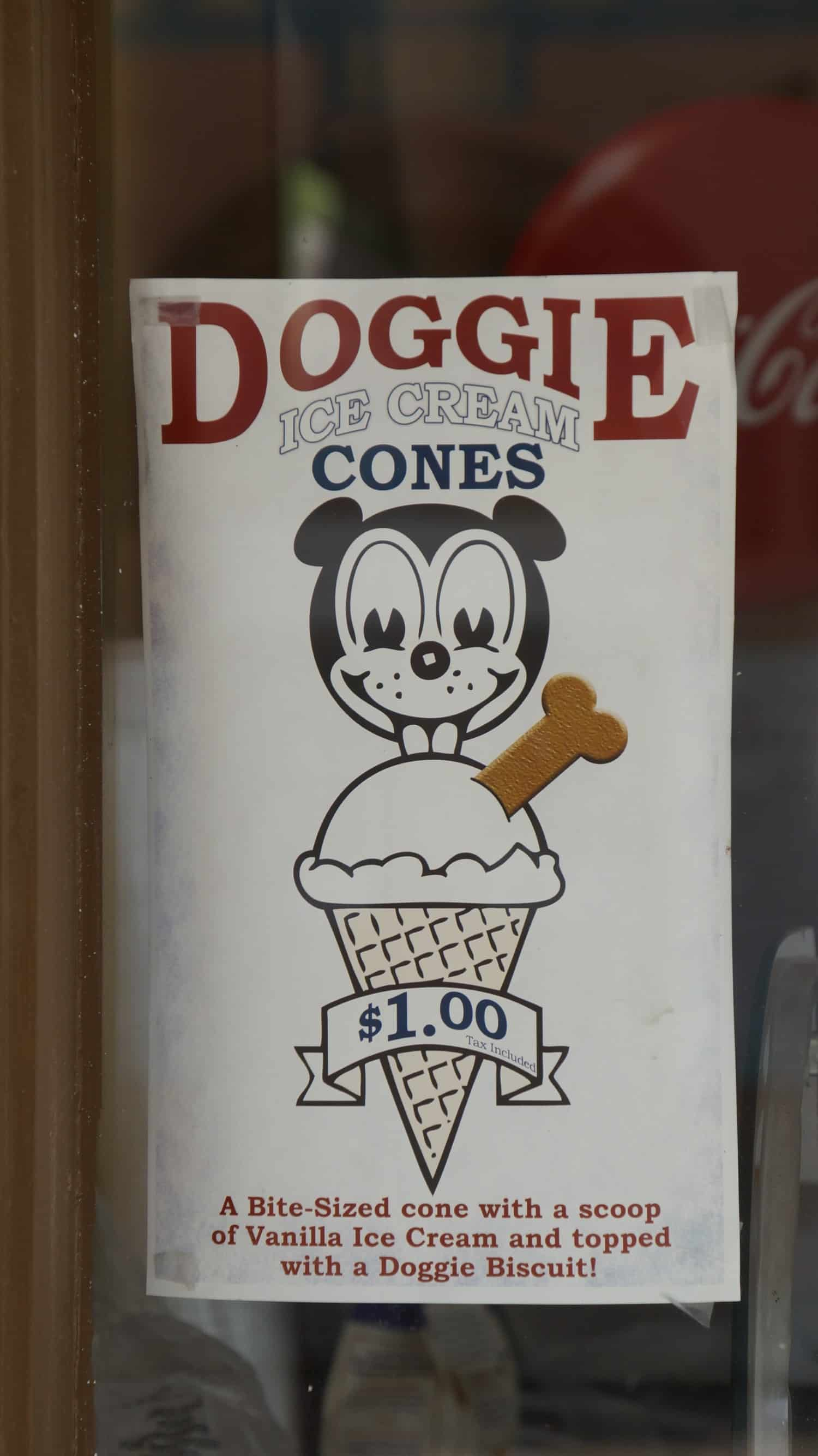Poster for Doggie Ice Cream Cones at T. Millers Mercantile in pet friendly Tombstone, AZ