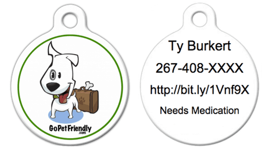 New ID pet ID tag for Ty the dog from GoPetFriendly.com