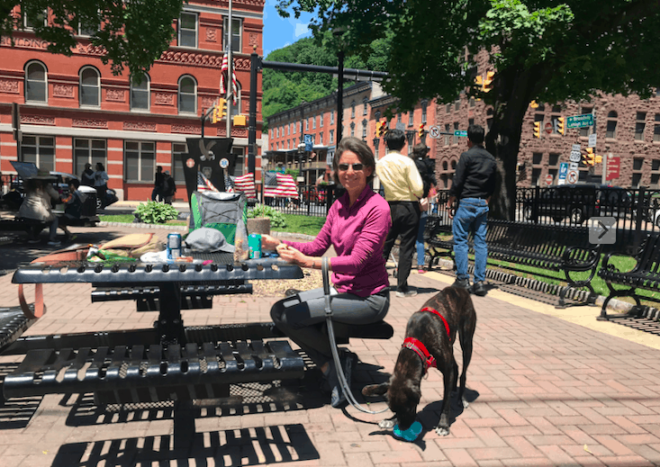 Woman with a brindle dog at a picnic table in Jim Thorpe, PA