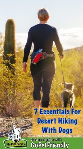 Woman and dog walking on a pet friendly trail in the desert