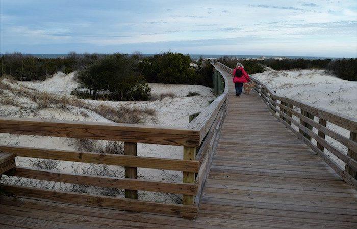 Pam and Honey cross the dunes at Cumberland National Seashore.