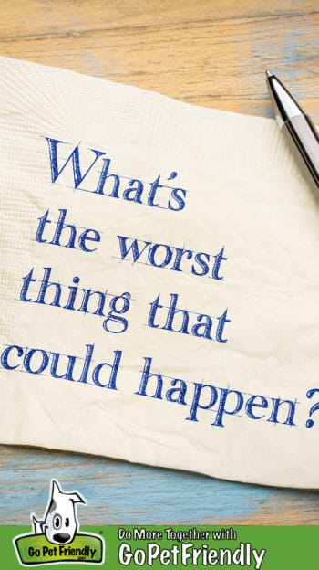 "Napkin on a table with the text, ""What's the worst thing that could happen?"""