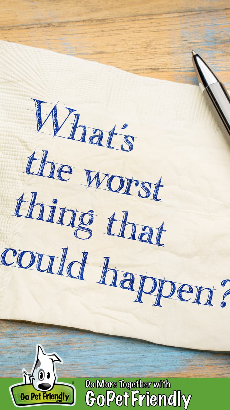 "Napkin on a table with the text, ""What's the worst thing that could happen?"" for the worst-case scenario"
