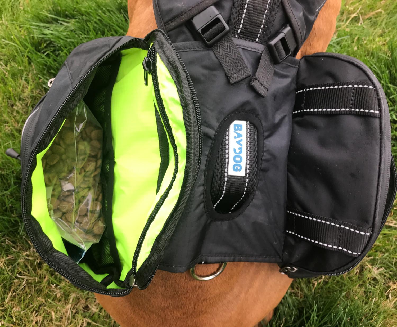 Inside pockets of the Bay Dog Saranac dog backpack