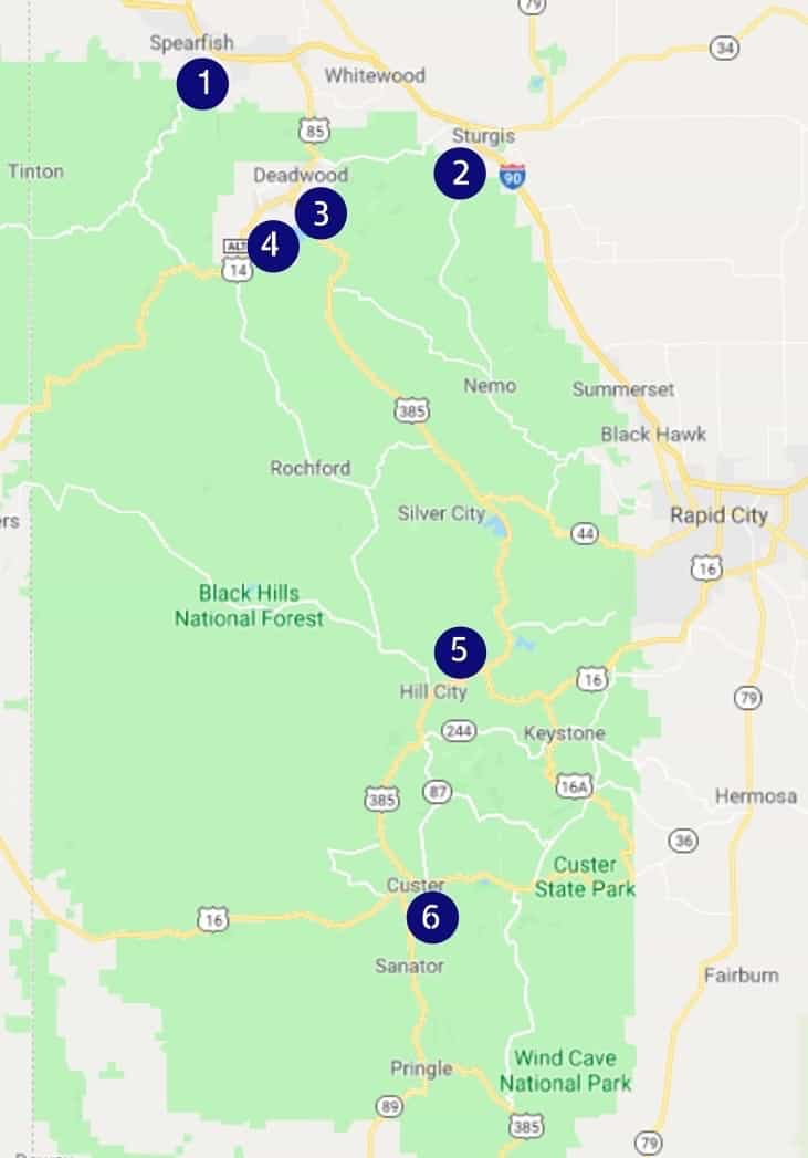 Map of pet friendly breweries and wineries in the Black Hills of South Dakota