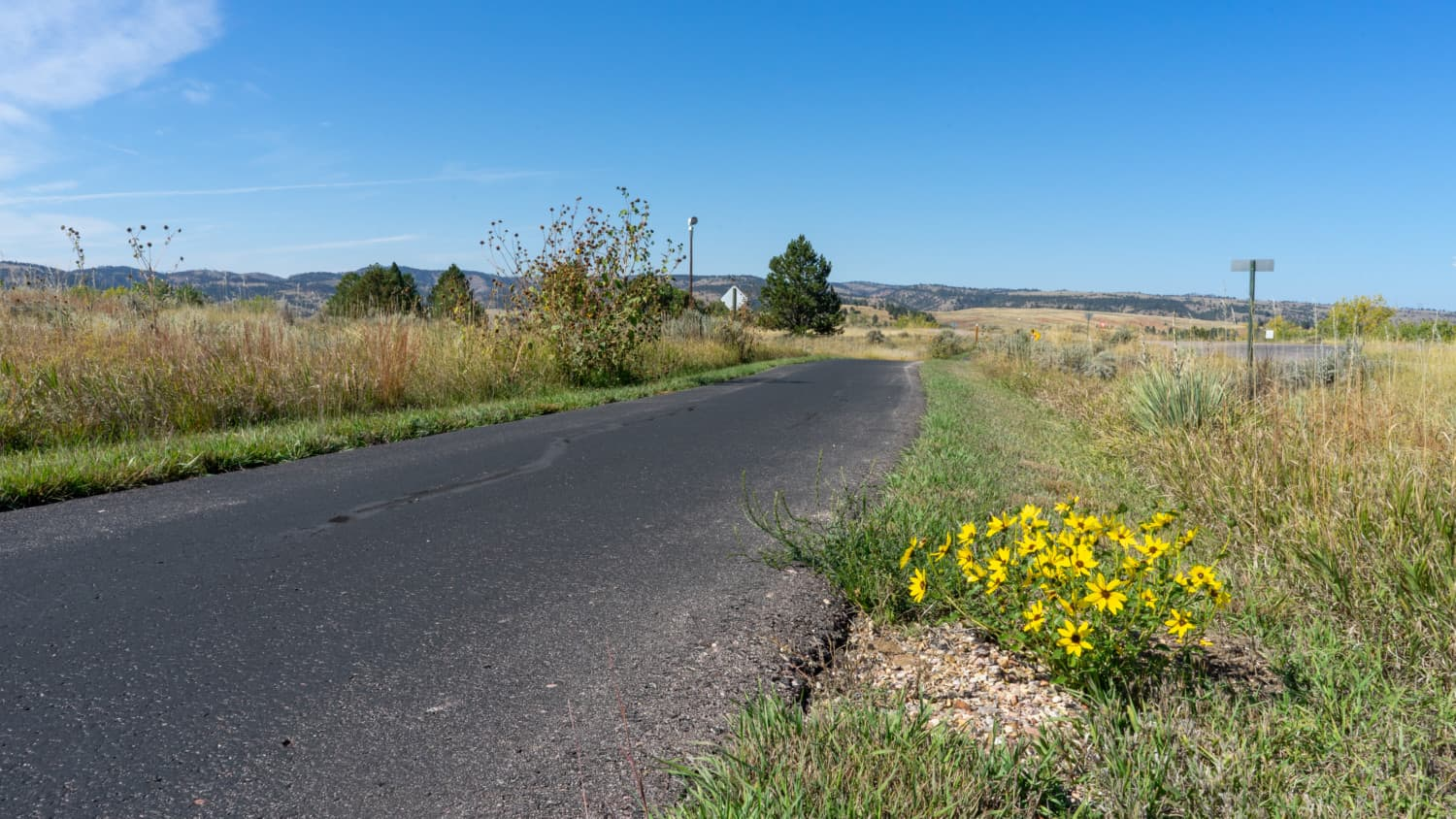 Paved bike path at pet-friendly Angostura Recreation Area in the Black Hills of South Dakota