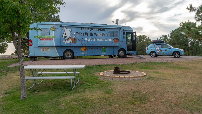 GoPetFriendly.com Winnebago parked at pet-friendly Angostura Campground in South Dakota's Black Hills