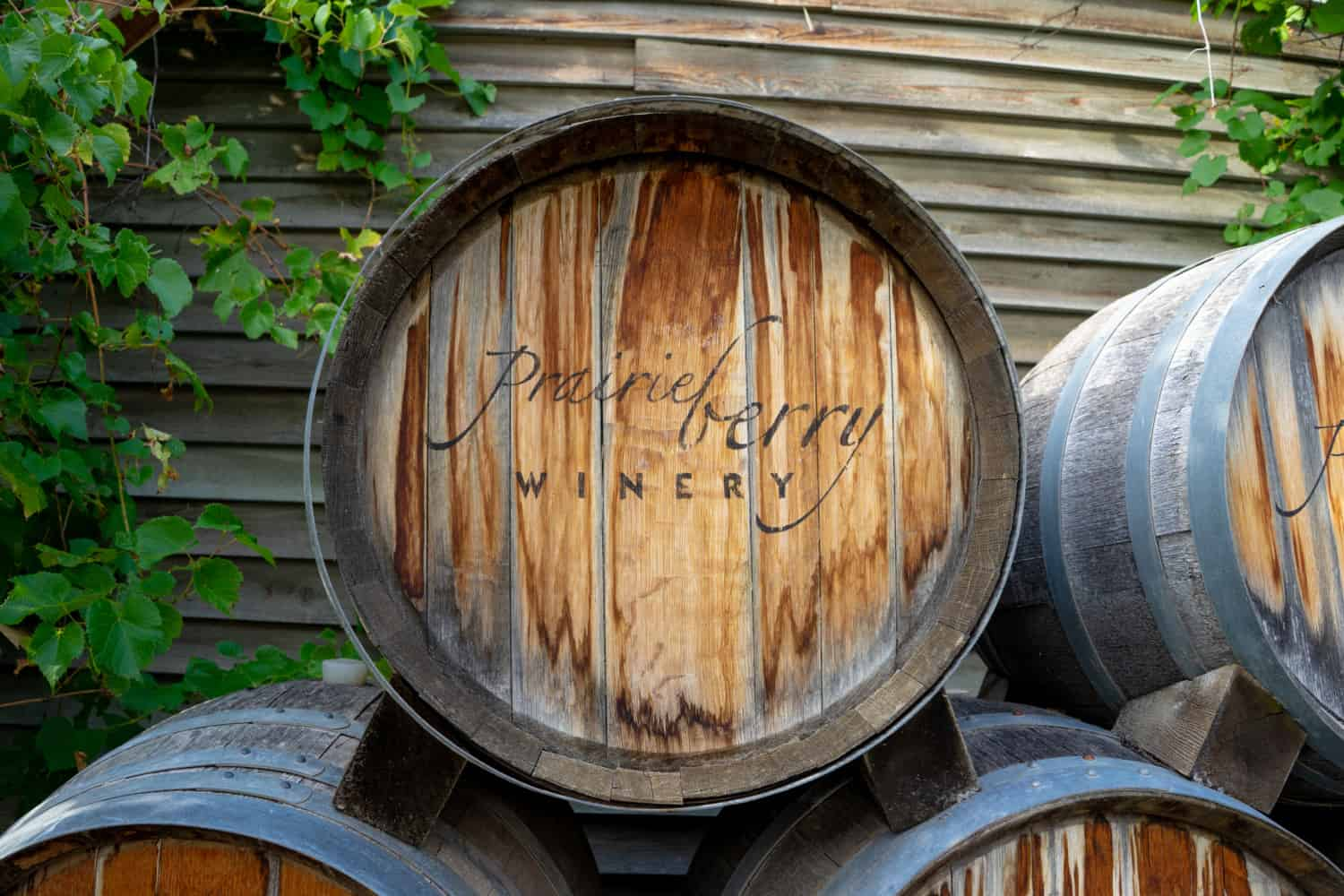 Wine barrel branded with the logo of Prairie Berry Winery in Hill City, SD