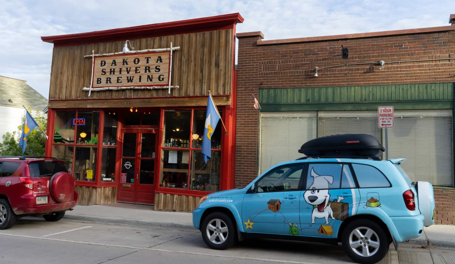The GoPetFriendly.com RAV4 parked outside Dakota Shivers Brewing Company in Lead, SD