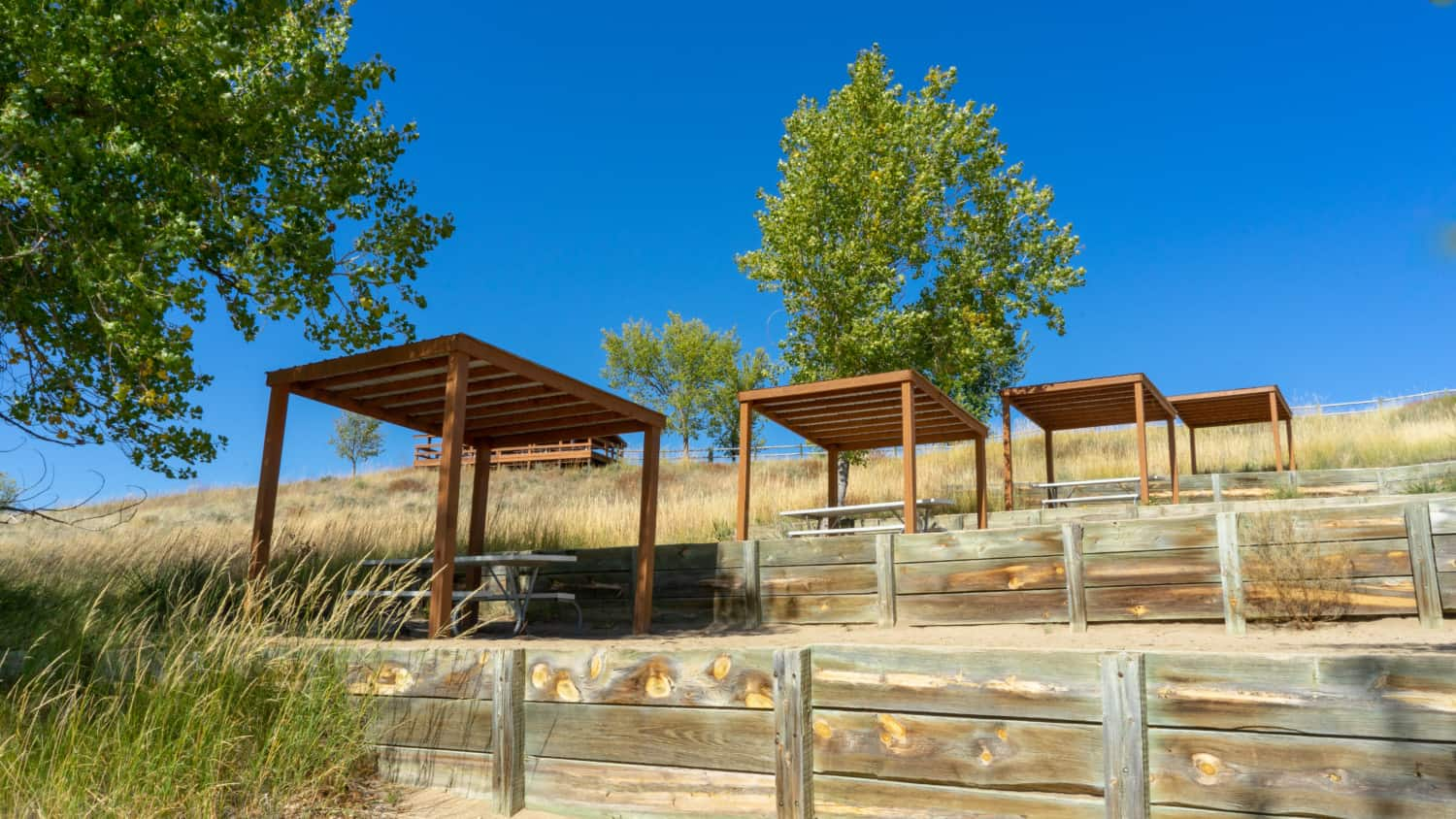 Shade structures on the pet-friendly beach at Angostura Recreation Area, SD