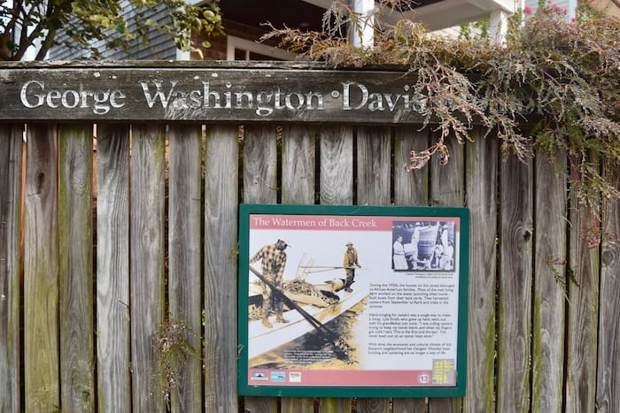 George Washington Davis park sign describing the history of black watermen who worked in the area.