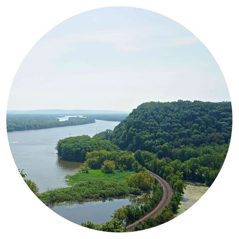 View of the Mississippi River and train tracks from Effigy Mounds National Monument in Harpers Ferry, Iowa