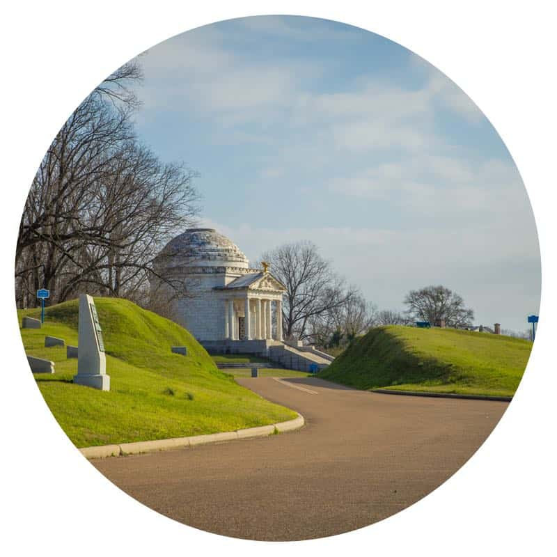 Path and monument at Vicksburg National Military Park in Vickburg, MS