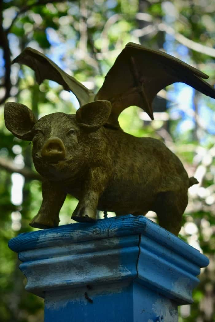 Flying pig sculpture at pet-friendly AnnMarie Sculpture Garden.