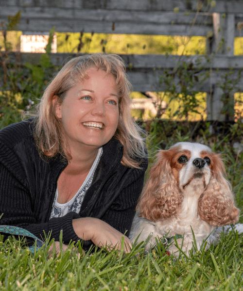 Tonya Wilhelm and her Cocker Spaniel, Dexter