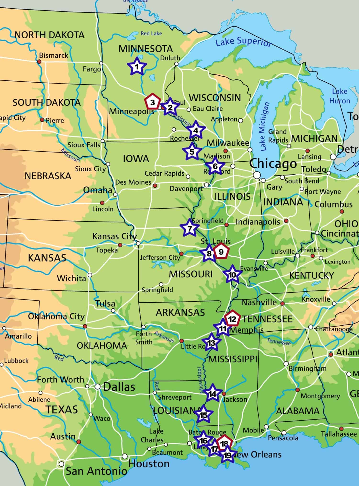 Road map showing pet friendly stops along the Great River Road from Minneapolis, MN to New Orleans, LA