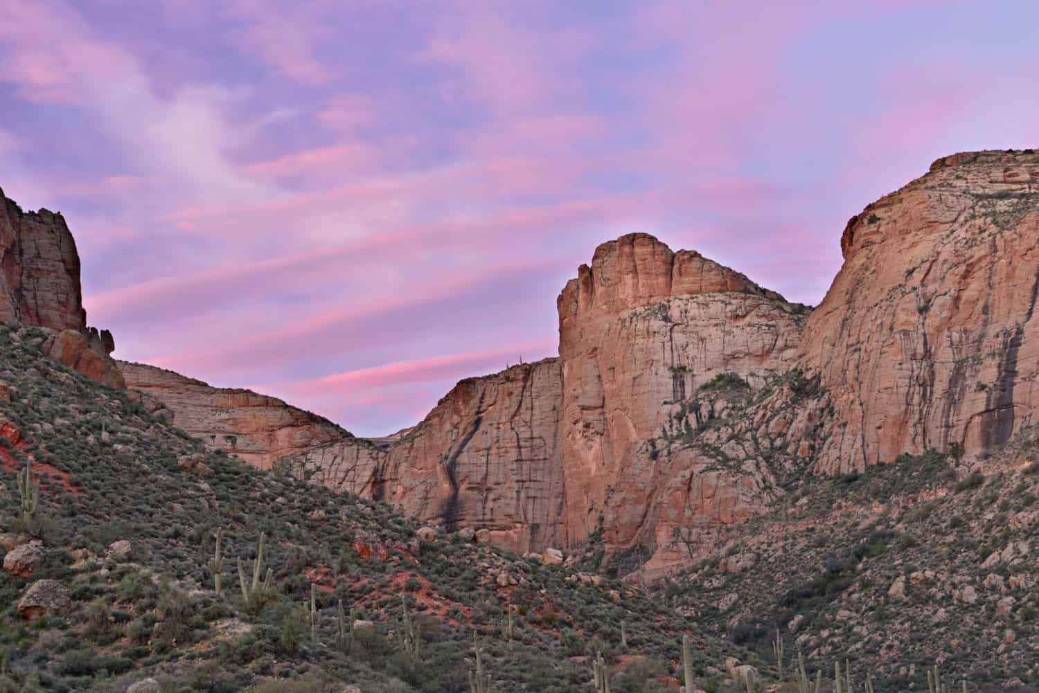 Twilight on the Apache Trail in the Tonto National Forest in Arizona