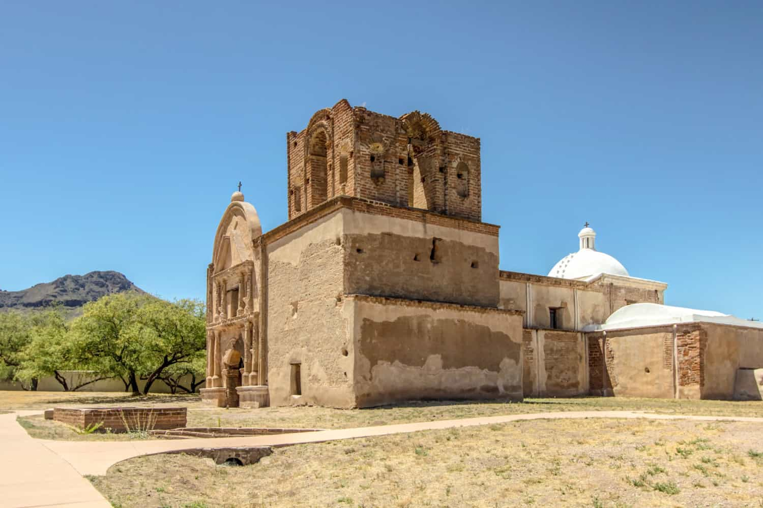 Exterior of a Spanish-style mission at Tumacacori National Historic Park in Arizona
