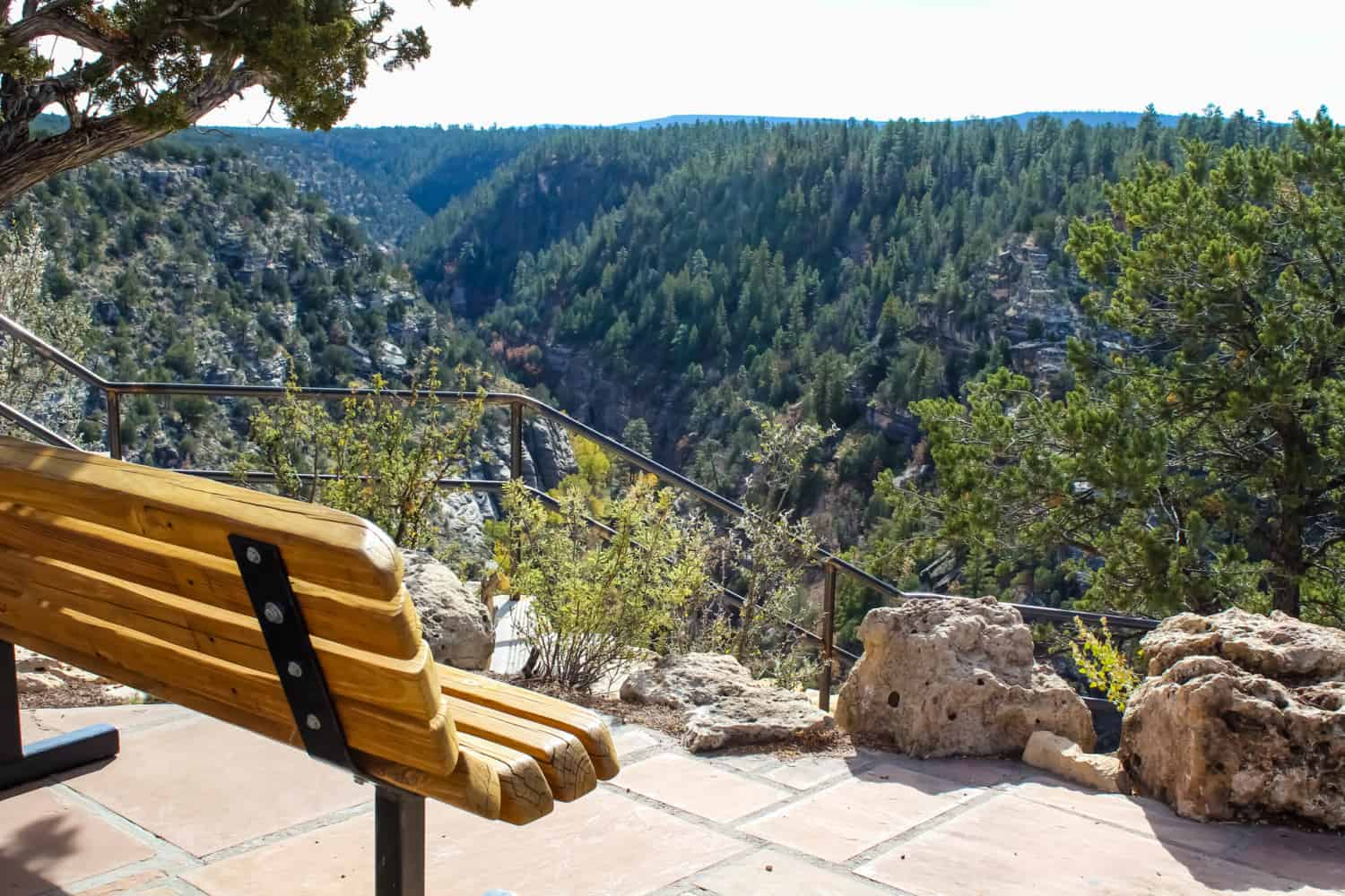 Bench overlooking the view in Walnut Canyon National Monument near Flagstaff, Arizona