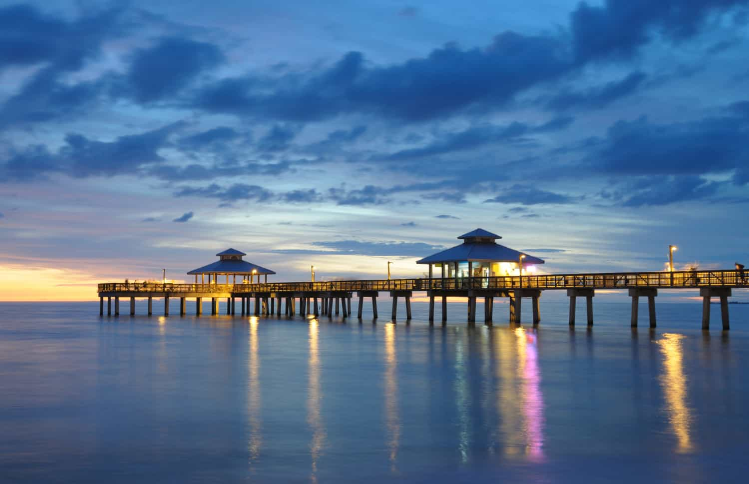 Pier at Fort Myers Beach, FL at sunset
