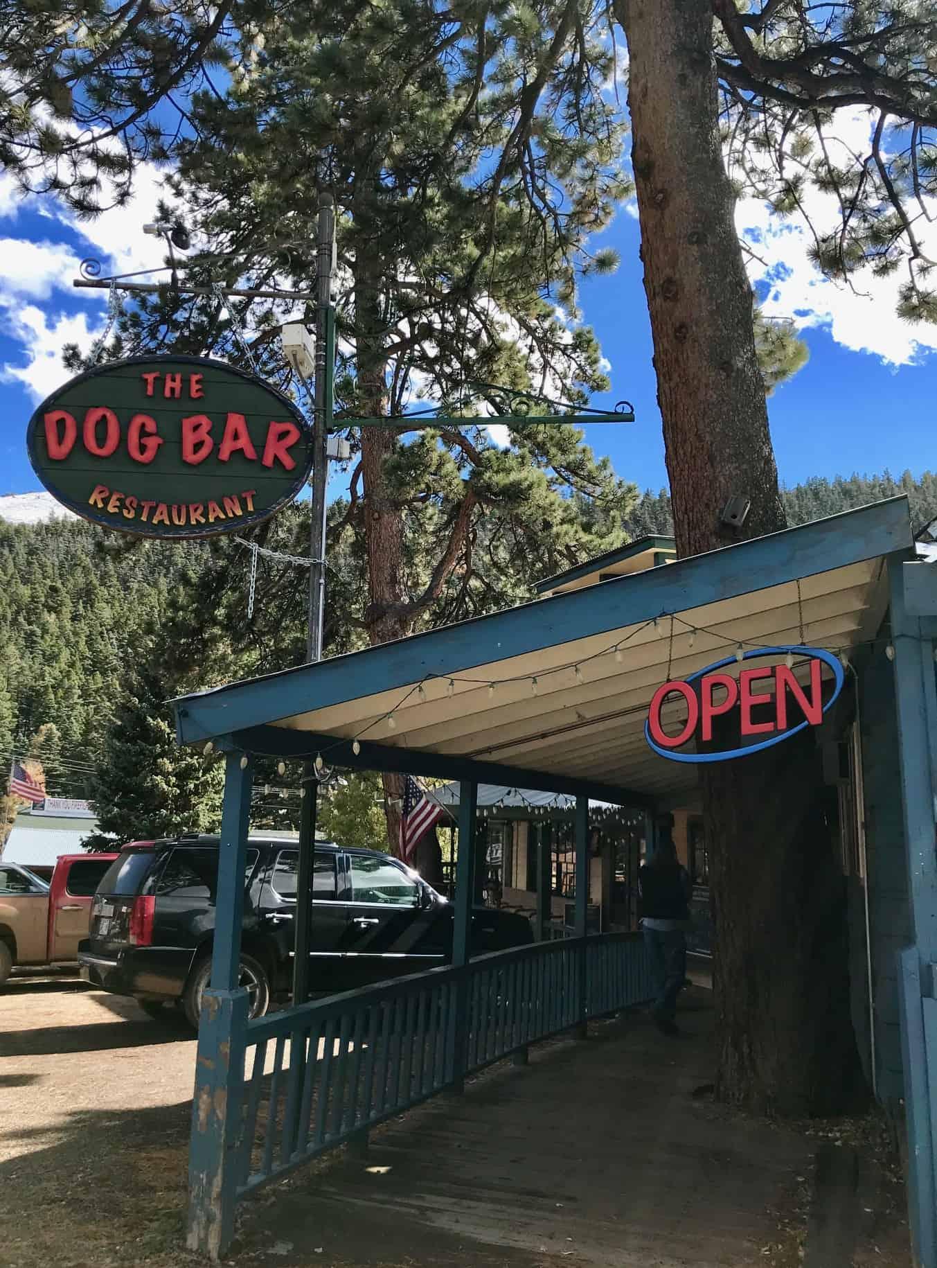 Sign at the pet friendly Dog Bar in Cuchara, Colorado