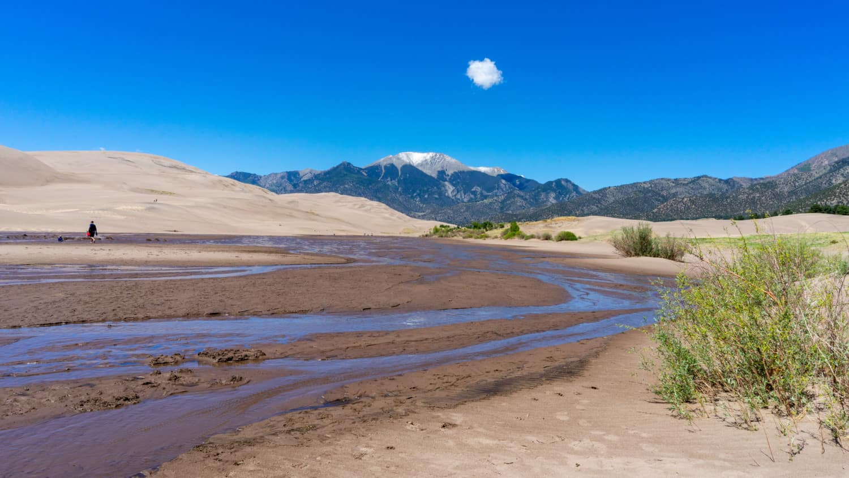Medano Creek creates a pet friendly beach environment in Great Sand Dunes National Park
