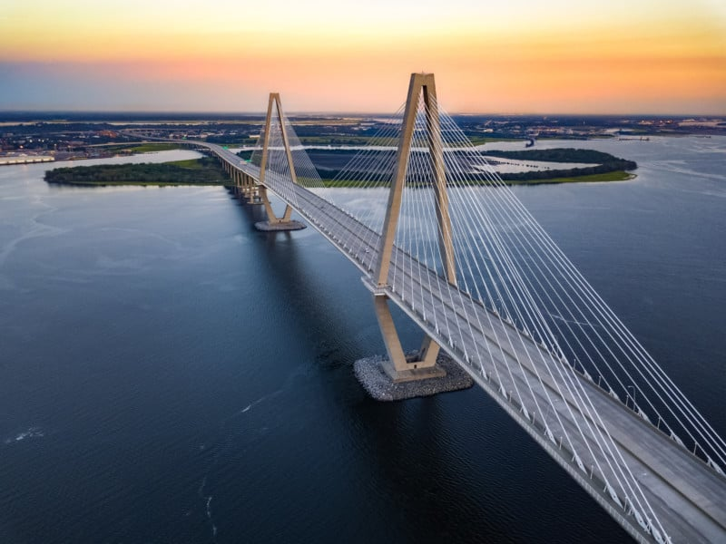 Ariel view of the Ravenel Bridge in Charleston, SC
