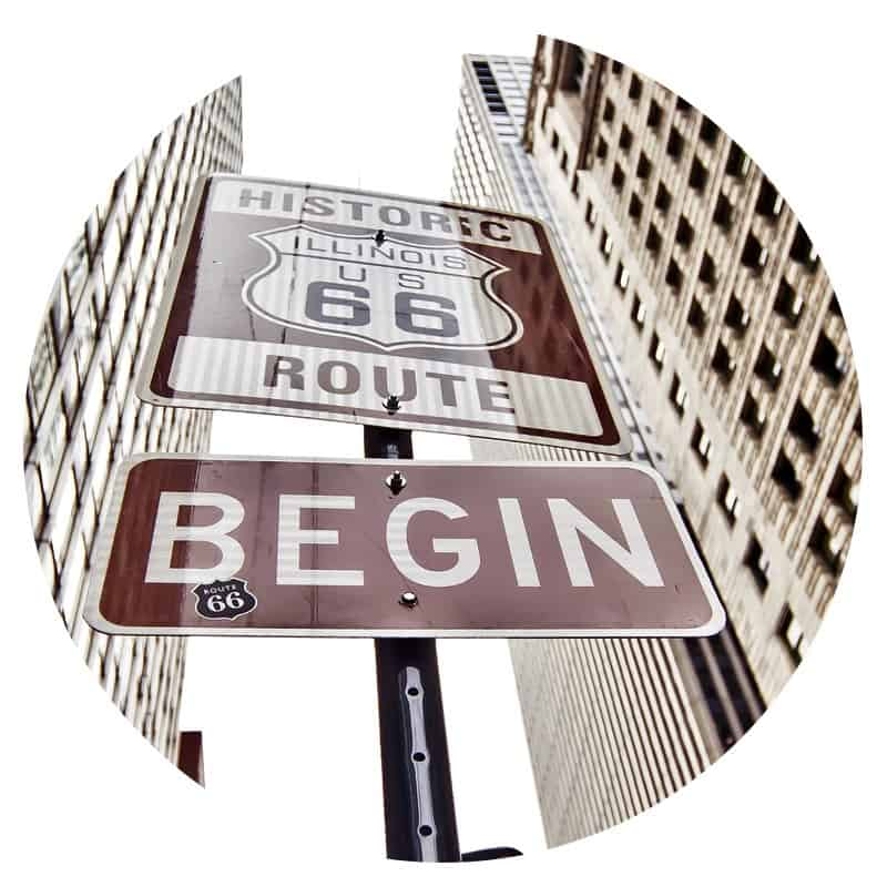 Historic Route 66 Sign in Chicago, IL