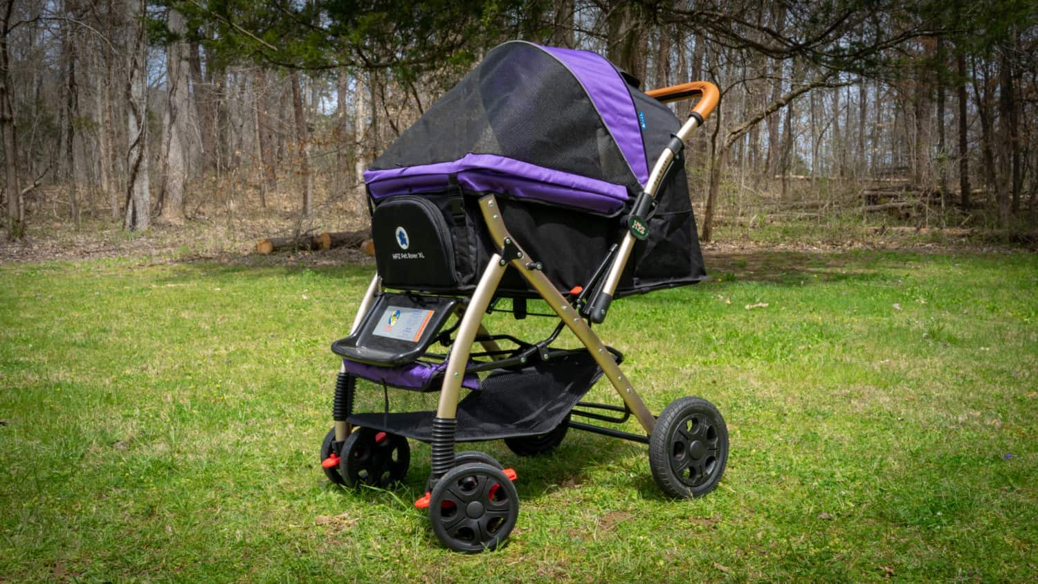 Purple and black Pet Rover XL dog stroller