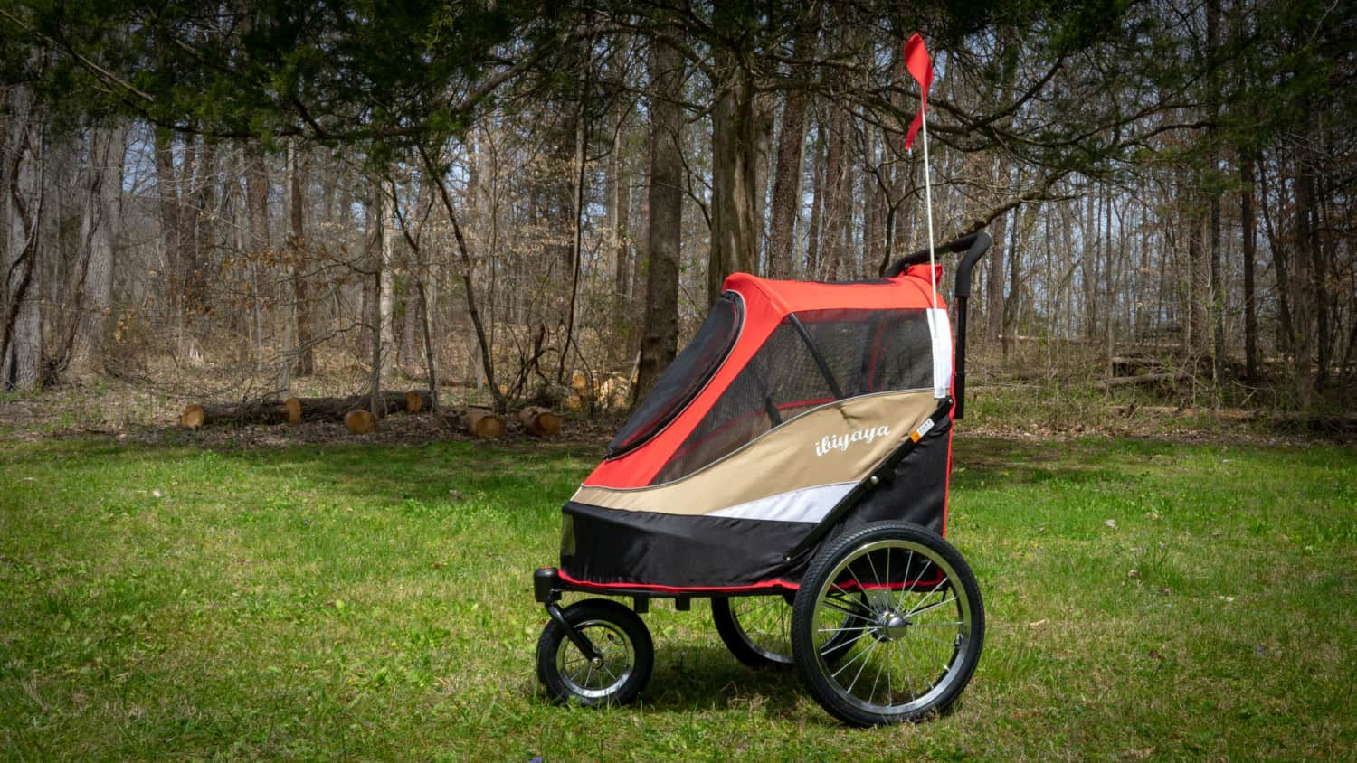 Red ibiyaya Happy Bicycle Trailer / Stroller for dogs
