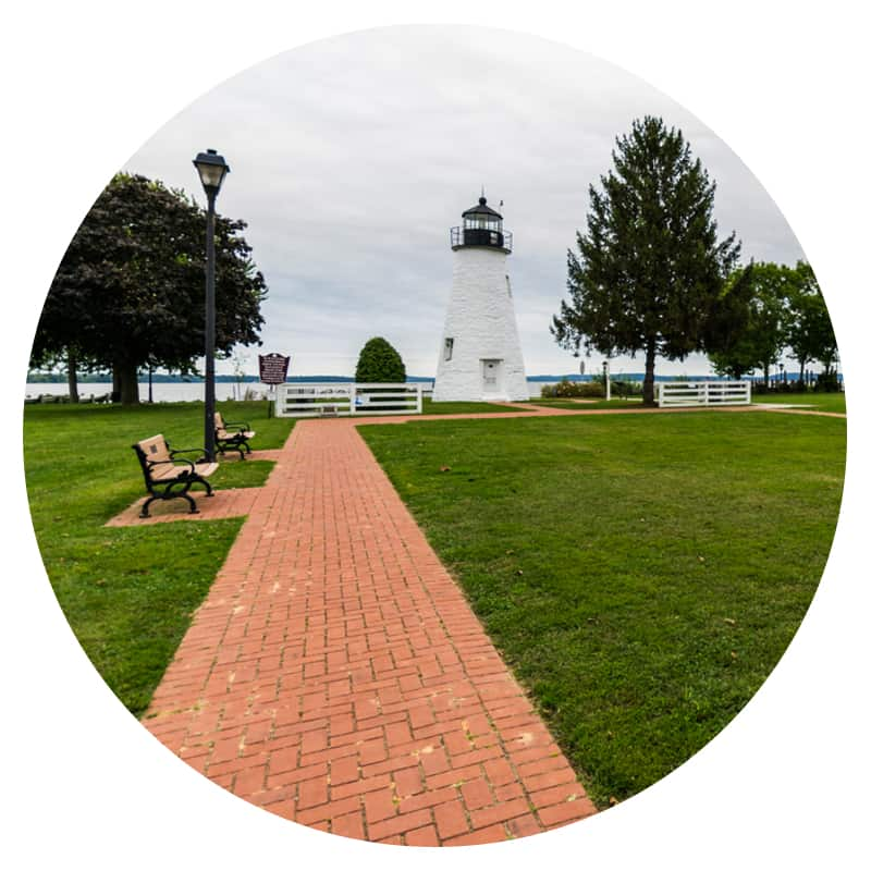 Park and lighthouse on the Chesapeake Bay in Harve de Grace, MD