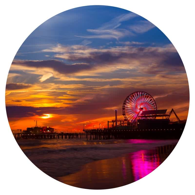 The Santa Monica Pier - the end of Route 66 - at sunset