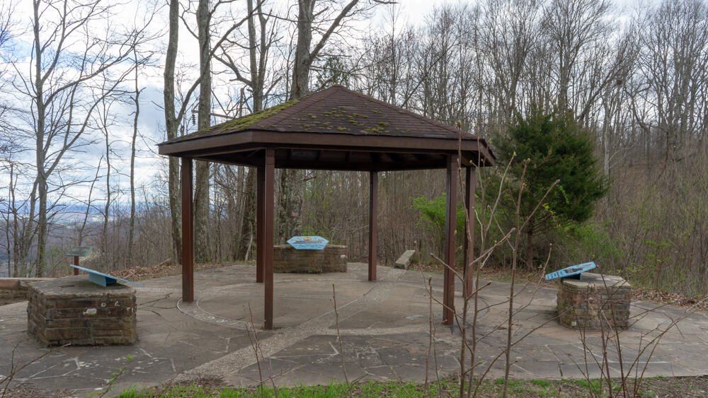 A gazebo over the intersection of three state lines at Tri-State Peak in Cumberland Gap National Historic Park